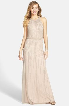 "Free shipping and returns on Adrianna Papell Beaded Blouson Gown at Nordstrom.com. <p><B STYLE=""COLOR:#990000"">Pre-order this style today! Add to Shopping Bag to view approximate ship date. You'll be charged only when your item ships.</b></p><br>Intricate beadwork radiates from the halter neckline and traces striking geometric motifs across the sheer mesh overlay of an ethereal blouson gown."