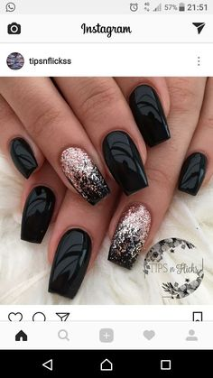 Classy Winter Nail Art Template to Inspire 25 Nail Designs .- Nobler Winter Nagel Kunst Vorlage zum 25 anzuspornen Nageldesign – makeup Classy winter nail art template to inspire 25 nail designs up - Black Nails With Glitter, Black Coffin Nails, Black Acrylic Nails, Black Nail Art, Stiletto Nails, Black Ombre Nails, Orange Glitter, Black Art, Glitter Ombre Nails