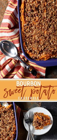 Knock the socks off your guests with this slightly sweet Bourbon Sweet Potato Casserole, topped with a crunchy streusel. #Thanksgiving via @speckledpalate