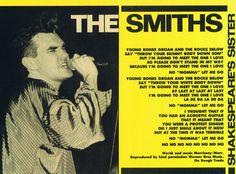 The Smiths – No. 1 lyric sheet to 'Shakespeare's Sister' (c.1985) — image via The Smiths in Print https://braceneckboy.wordpress.com/2010/10/14/shakespeares-sister-no-1smash-hits/