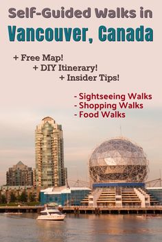 these expert-designed and customized (DIY) self-guided walking tours to explore Vancouver, Canada on foot at your own pace. Whatever your interest - sightseeing, shopping, or food these walks cover all, enhanced with insider tips and free map. Vancouver Shopping, Vancouver Map, Canada Travel, Columbia Travel, British Columbia, Travel Guides, Travel Tips, Travel Articles, Free Maps