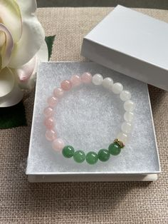 Green Aventurine, Rose Quartz and White Jade Bracelet, Gemstone Healing Beaded Bracelet, Gifts for her, Women Beaded Yoga Bracelet, Stretchy beaded bracelet. Gift for her, gift for mom, gift for girlfriend, gift for wife, best friend gift. Peace , Luck and Prosperity! The Aventurine stone is known in the gemstone world as one of the luckiest stones, which makes it a must-have for inviting good luck and prosperity into your life.