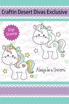Be A Unicorn Digital Stamp - Craftin Desert Divas Paper Embroidery, Machine Embroidery Applique, Embroidery Patterns, Line Art Images, Simply Stamps, Doodles, Business Logo Design, Digi Stamps, Unicorn Party