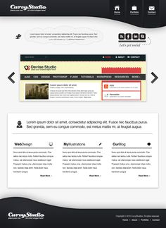 Simplistic Black and White Portfolio Layout in Photoshop - DeviseFunction Portfolio Layout, Ui Inspiration, White Space, Photoshop Design, Page Design, Lorem Ipsum, Black And White, Gray, Grief