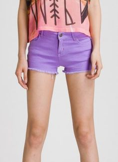 Bright Purple Five Pocket Cut-Off Shorts,  Bottoms, bright  cut off shorts, Casual