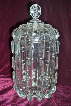 "EAPG ""Broken Column"" Lidded Biscuit Jar first made by the Columbia Glass Co. circa 1888, then by U.S. Glass Co circa 1893, 10""H x 4.75""D"