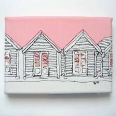 beach huts quilting lines Freehand Machine Embroidery, Free Machine Embroidery, Ship Wreck, Beach Illustration, Pottery Houses, House Sketch, Ink Pen Drawings, Beach Huts, Nautical Art