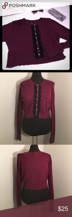 {NEW} TORRID Burgundy Cropped Cardigan with Lace Burgundy long sleeve cropped cardigan with black lace detail on front. Rhinestone buttons. EUC. Torrid Size: 1  ▪REASONABLE OFFERS WELCOMED or BUNDLE FOR 15% OFF!▪️ torrid Sweaters Cardigans