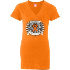Celebrate your cancer victory with Leukemia Victory...I'm a Survivor Jr. V-Neck Fashion Shirts featuring a heraldry design with a heart ribbon #Leukemia #LeukemiaSurvivor #LeukemiaShirts