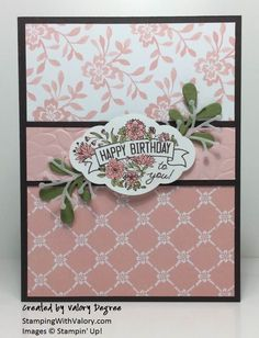Stampin' Up! Label Me Pretty set, Pretty Punch, Pretty Pines Thinlits, Fresh Florals DSP in Powder Pink. Birthday Cards For Women, Happy Birthday Cards, Scrapbook Cards, Scrapbooking, Stampin Up Karten, Diy Baby Headbands, Pink Cards, Stamping Up Cards, Nail Stamping