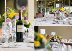Carol & Walid's Wedding at Kleine Zalze Wine Farm in Stellenbosch. With 50 Guests from Across the Globe. By ZaraZoo Wedding Photographers South Africa Wedding Flowers, Reception, Bright, Wine, Table Decorations, Lighting, Yellow, Purple, Photography