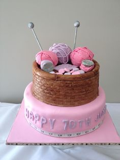 knitting birthday cakes | 70th Birthday knitting cake. The only inedible part is the knitting ...