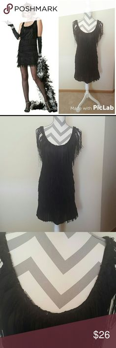 Flapper Roaring 20s Fringe Swing Halloween Costume Black flapper dress by California Costumes in a size Medium. The dress features a few sequins on the neckline,  fringe all over the dress, and it is an easy pull on style. The only flaw is some twisting and tangled fringe from being stored but it can be undone. The dress comes from a smoke free home. I do offer bundle deals as well. Thank you for checking out my closet. California Costume Collection  Dresses