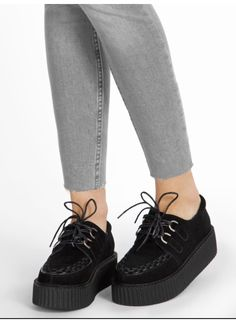 Creepersy Wait Up Black Leather Creepers