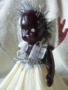Vintage Christmas Tree Fairy Tiny Black Baby Roddy Doll
