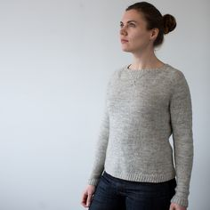 A refined take on the classic top down raglan with sweatshirt style details worked in brioche rib. The raglan shaping is worked at multiple rates for a flattering and comfortable fit that follows the contours of the shoulders. Paired lifted increases with a hidden purl rib between give the illusion of a single column of prominent knit stitches that look the right way up once the sweater is turned.