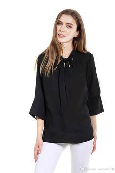 Female Blouse Shirt Black Chiffon