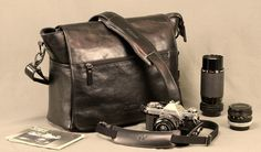4V SIMO MESSENGER bag & LUSSO LARGE TOP strap with Canon AE1 camera, 28mm, 50mm 28-210mm zoom
