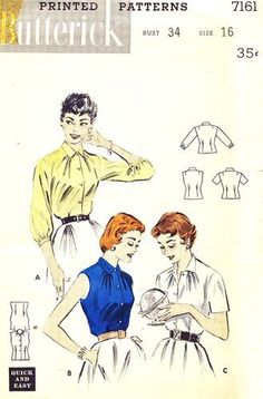 Butterick Pattern 7161 Vintage 50's Quick and Easy Set of Blouses - Three Versions! Complete Size 16 Bust 34