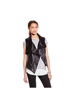 TWO BY VINCE CAMUTO ANIMAL PONTE ASYMMETRICAL VEST