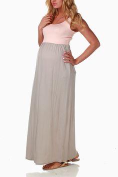 Beige-Pale-Pink-Colorblock-Maternity-Maxi-Dress