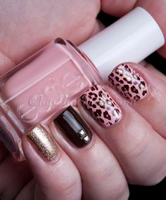 Pink, Brown and Gold #zoya #essie #animalprint #nails