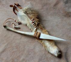 Barking Dog - coyote bone ritual knife by Lupa. At https://www.etsy.com/listing/214693083/barking-dog-coyote-leg-bone-and-bone