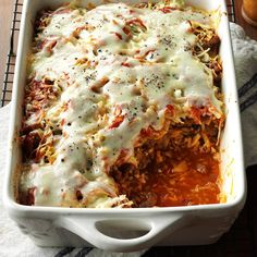 Cabbage Roll Casserole Recipe -I layer cabbage with tomato sauce and ground beef lasagna-style to create a hearty casserole that tastes like cabbage rolls but without all the work. —Doreen Martin, Kitimat, British Columbia