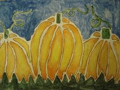 batik effect on paper using line drawing of pumpkin made with squeeze bottle of white glue with tip, letting dry, then filling in areas between/around glue with watercolor paints with brush (for permanent use on fabric, could use permanent white glue and watered-down acrylic paint)