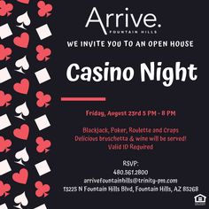 You're invited! Join us for Casino Night. We'll have Blackjack, Poker, Roulette and Craps tables set up for you. We'll also be serving bruschetta and wine. Get ready for a great time! Pet Friendly Apartments, Fountain Hills, Table Set Up, Casino Night, Youre Invited, Bruschetta, Open House, Poker, Tables