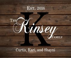 Custom Monogram Name Sign With Family Members Names, Established Date and Year…