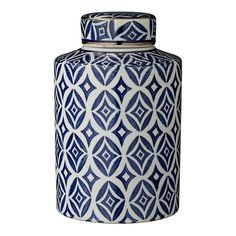 Lene+Bjerre+Camelia+Jar+Tall+-+Dark+Blue+-+Ceramic+blue+and+white+patterned+Moroccan+display+jar. Add+a+touch+of+colour+to+your+home+interior+space+with+the+Lene+Bjerre+Camelia+Jar+Tall+-+Dark+Blue. A+fine+accessory+for+both+classic+and+contemporary+interior+spaces,+this+sophisticated+storage+jar+draws+inspiration+from+Moroccan+tiles+and+antique+blue+and+white+crockery. Hand+sculpted+and+beautifully+hand+painted,+this+tall+ceramic+display+vase+features+a+unique+Morrocan-inspired+geometric...