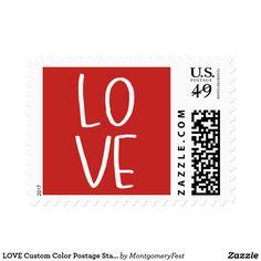 LOVE Custom Color Postage Stamp
