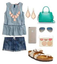 """""""A little bit of everything!"""" by libbylulu22 on Polyvore featuring J.Crew, Kendra Scott, Ray-Ban, Birkenstock, Becca, Kate Spade and Case-Mate"""