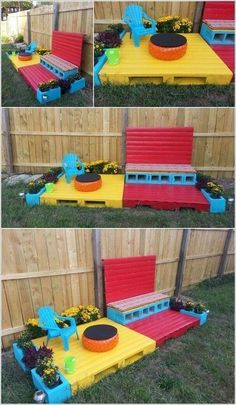 Build a Tiny Yet Colorful Pallet Patio for a Kid. Backyard play area idea with free pallets. Toy kitchen and toddler chair.LOVE this idea for the empty space under the girls treehouse on their playset Pallet Projects: Build a Tiny Yet Colorful Pallet Pati Kids Outdoor Play, Outdoor Play Areas, Kids Play Area, Backyard For Kids, Backyard Projects, Diy For Kids, Wood Projects, Backyard Play Areas, Cheap Backyard Ideas