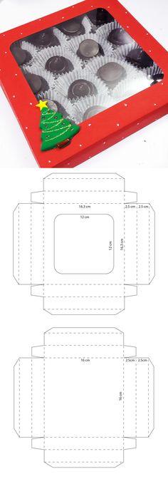 Caja cuadrada navideña para chocolates Diy Gift Box, Paper Gift Box, Diy Box, Diy Gifts, Diy Christmas Angel Ornaments, Diy Paper, Paper Crafts, Paper Box Template, Chocolate Gift Boxes