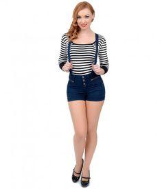 LoveMelrose.com From Harry & Molly | High Waist Overall Shorts ...