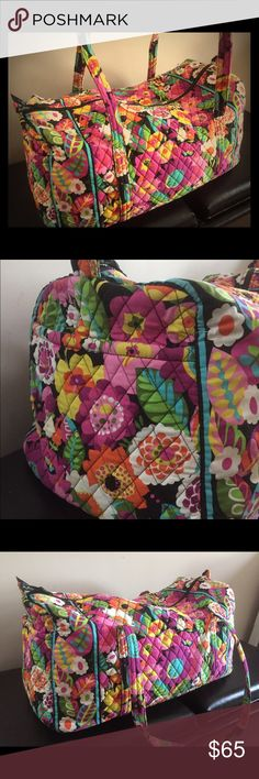 Vera Bradley large duffel Large Vera Bradley duffel bag. The bag has been used but is in great condition! Only looks slightly used on the bottom. The bag has one large side pocket. Vera Bradley Bags Travel Bags