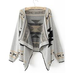 Grey Long Sleeve Asymmetrical Cardigan Sweater ($36) ❤ liked on Polyvore