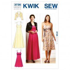 Kwik Sew Ladies Sewing Pattern 3736 Sweetheart Neckline Dresses & Jacket   Sewing   Patterns   Minerva Crafts