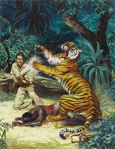 Not Pulp Covers — Hunt men's magazine cover illustration Pulp Fiction Art, Pulp Art, Vintage Posters, Vintage Art, Man Vs Nature, Adventure Magazine, Tiger Art, Its A Mans World, Male Magazine