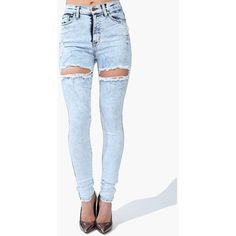 Shorty High Waist Jeans ($45) ❤ liked on Polyvore featuring jeans, pants, bottoms, jeans/pants, distressed jeans, zipper jeans, high waisted ripped jeans, frayed jeans and high waisted destroyed jeans