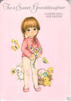 Sweet Granddaughter Greeting Paper Doll Card RARE Uncut Vintage Mint Buzza   eBay