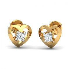 A perfectly shaped heart stud earrings with a 0.07 carat round brilliant diamond at the center. Go ahead & customize it with options in Gold Purity (18K, 14K), Diamond Grade (SI-HI, VS-GH, VVS-GH) & Metal Colour (Yellow, White, Rose) of your liking.  #Crunchy #Heart #Diamond #Gold #Stud #Earrings