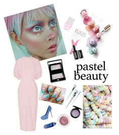 """""""Pastel Beauty"""" by kotnourka ❤ liked on Polyvore featuring beauty, Emilia Wickstead, Sergio Rossi, Givenchy, Nails Inc., Unicorn Lashes and MAC Cosmetics"""