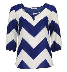 Chevron Stripe Blouse in Deep Blue / White Print . Sizes 0 to 18 . Available in store and online at www.rickis.com #rickis #spring2014