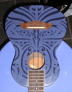 A Challenge to cheap uke owners Ukulele Art, Guitar Art, Cool Guitar, Painted Ukulele, Painted Guitars, Ukulele Design, Resonator Guitar, Maori Designs, Guitar Painting