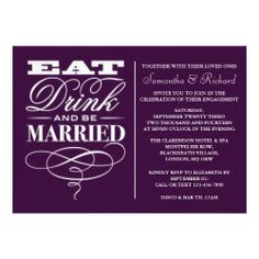 Eat, Drink And Be Married Purple Engagement Custom Announcements
