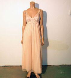 "1960s nightgown / Peach Delite Vintage 60's Empire Cut Nightie Nightgown by ""Intimi California"""