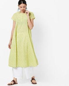 Check out Printed A-line Kurta  on AJIO! A Line Kurta, Short Sleeve Dresses, Dresses With Sleeves, India, Printed, Check, Shopping, Women, Fashion